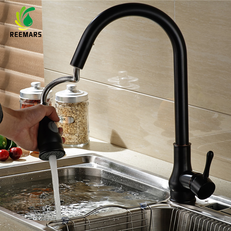 Genuine REEMARS Kitchen Faucet Black ORB Handle Mixer Pull Out Kitchen Tap Single Hole360 Rotate Copper