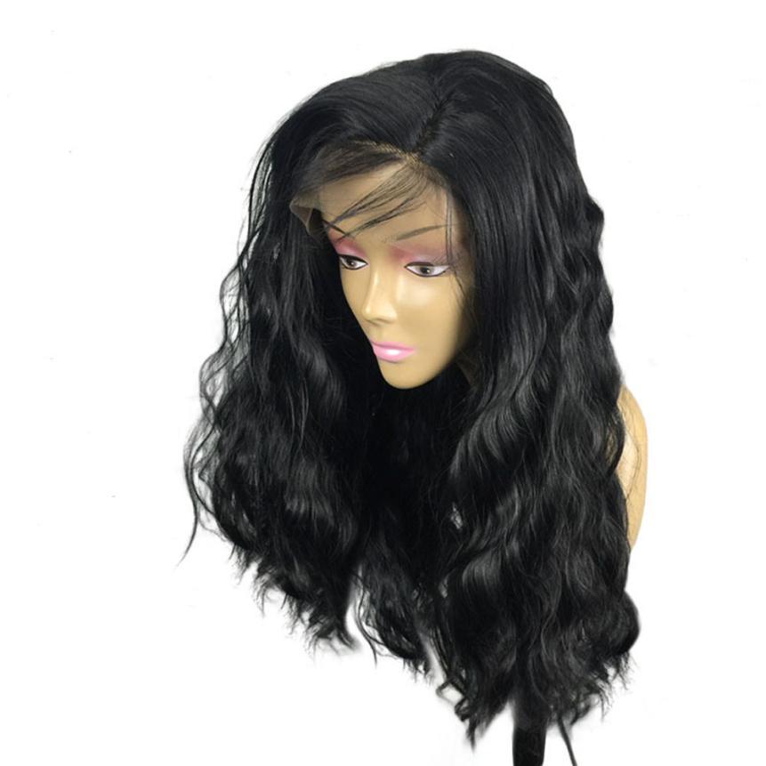 Womens Fashion Brazilian Less Lace Front Full Wig Bob Wave Black Natural Looking Women Wigs 0621