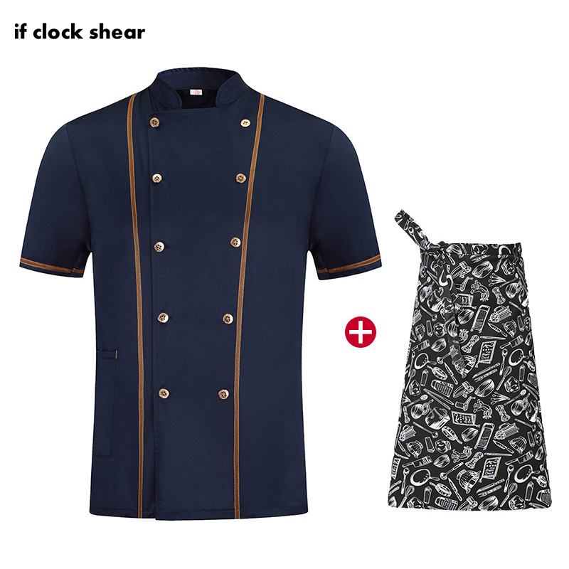 Breathable Jacket+Apron Short Sleeve Chef Work Clothes Unisex Restaurant Hotel Kitchen Uniform Catering Double Breasted Workwear