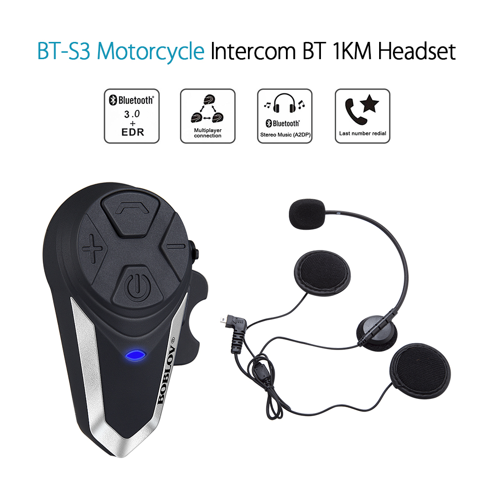 Waterproof Bluetooth Helmet Intercom  BT-S3 1000m Motorcycle Intercom Handsfree System Wireless Headsets GPS Music FM MP3