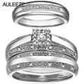 Conjuntos de Casamento Do diamante Jóias Finas 14 K Anéis de Ouro Branco Original Anel de Diamante Real Natural Incluem 3 Peças Do Anel de Casamento Anel conjunto