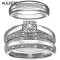 Diamond Wedding Sets Fine Jewelry 14K White Gold Rings Unique Natural Real Diamond Ring  Include 3 Pieces Ring Wedding Ring Set