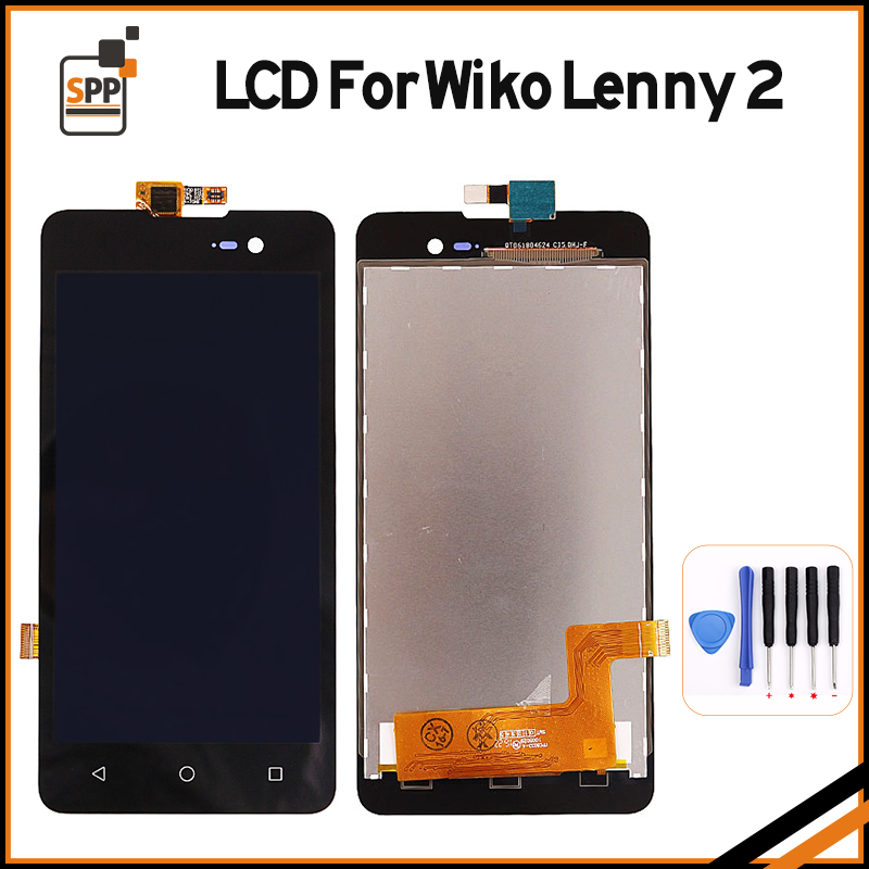 100% Original LCD For Wiko Lenny 2 Lenny2 LCD Display Touch Screen Digitizer Glass Assembly Pantalla Cell Phone Parts Repair white black original lcd for apple ipad mini 4 lcd display touch screen digitizer glass bezel complete assembly pantalla repair