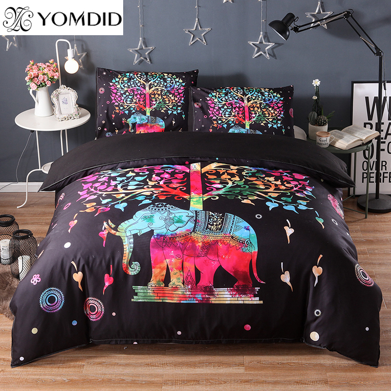3D Elephant Bedding Set Colorful Printed 3pcs Duvet Cover Pillow Case set Twin Full Queen King size Indian Bohemia Bedding Sets