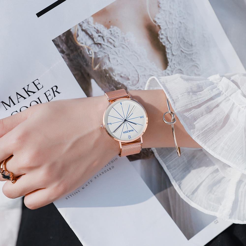 NAKZEN genuine ultra thin simple quartz female watch Japanese movement waterproof Milan mesh belt in Quartz Watches from Watches
