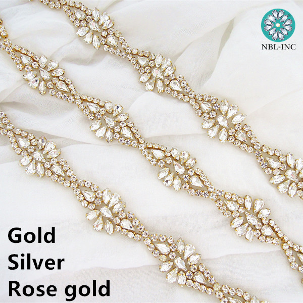 1pc Bridal Sew On Dress Applique AB Crystal Rhinestone Wedding Supply Trim