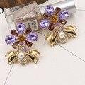 Новая Европа Большой Бренд преувеличены моды Кристалл цветы металлические пчелы уха клип Роскошные темперамент женские серьги аксессуары