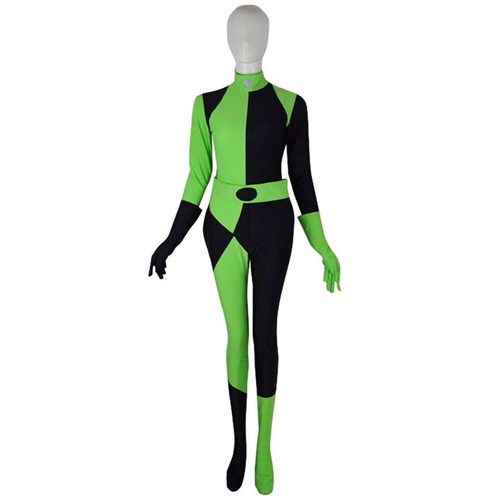 3D Print Customized Movie Kim Possible Female Shego Costume Super Villain Halloween Lycra Spandex Cosplay Shego Body Suit