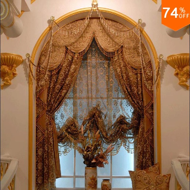 Us 204 23 Arab Mine Brown Trend Golden Embroidery Egypt Gold Curtains Dinning Room Kitchen Rooms Elegant Living Room Round Window Curtains In