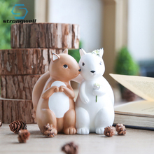 Strongwell Animal Doll Couple Figurines Resin Figure for Home Decoration Gift Families Toy Children Cute cute resin bride and bridegroom toy doll