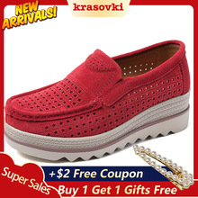 Krasovki Summer Platform Wedge Shoes Cutout Slip on Creepers Sneakers moccasins Suede Loafers new sneakers Breathable