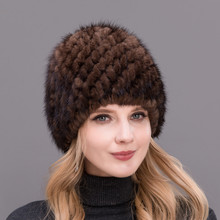 2017 Hot Sale Style Real Mink Fur Hat For Each Age Group Noble Womens Winter Knitted Pineapple Shape Cap