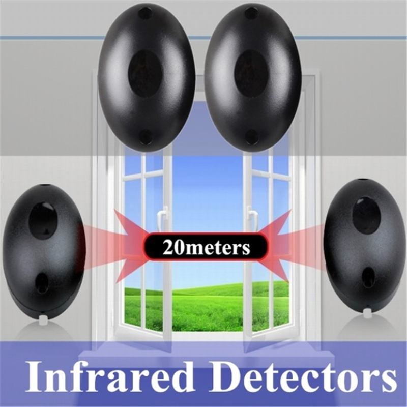 Infrared-Beam Barrier-Detector Gate Window-Burglar-Alarm-System Photoelectric Door 20m title=