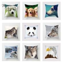 Fuwatacchi Animal Printed Cushion Cover Panda Poppy Wolf Deer Pillow Cover Decorative Home Sofa Chair Cute Kitty Pillowcase цены