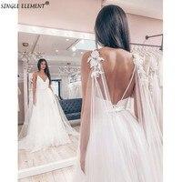 SINGLE ELEMENT Eleghant Wedding Dress Spaghetti Strap White Beach Bridal Gown