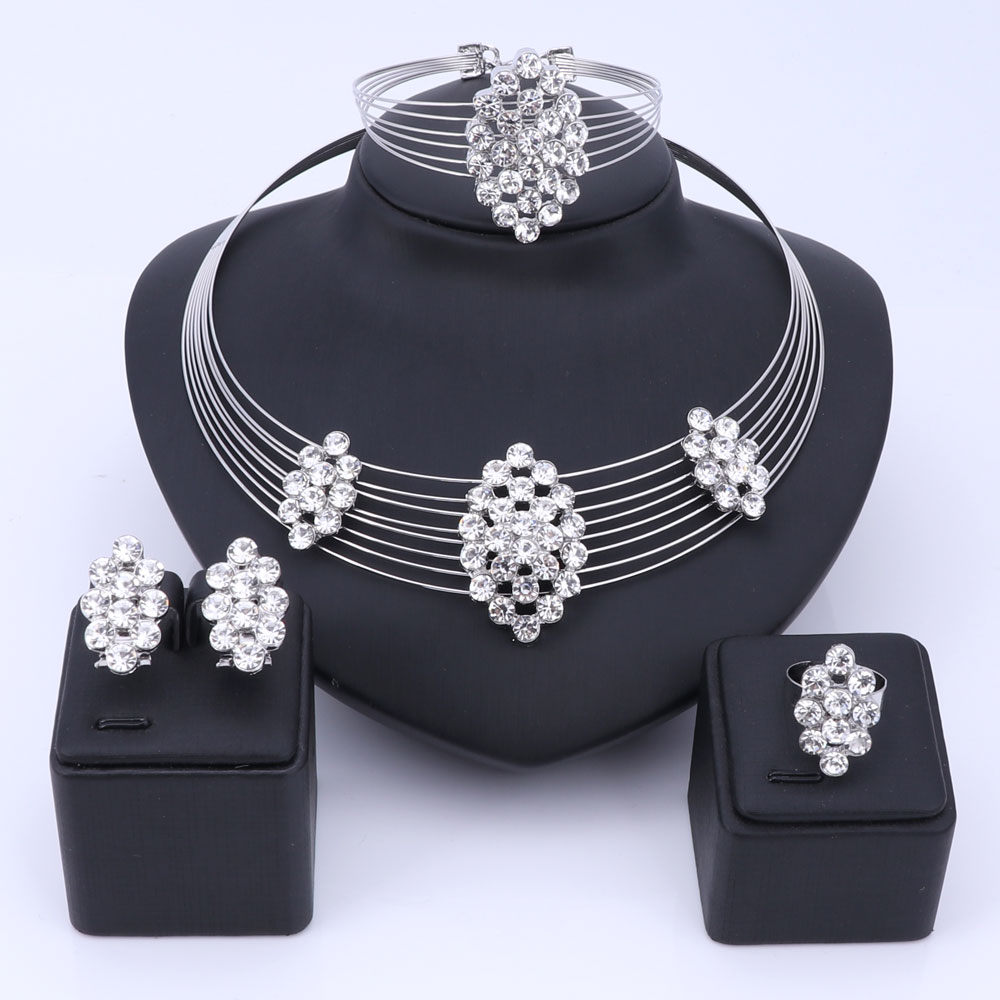 OUHE Silver Color Wedding Jewelry Set Rhinestone Crystal Multi layer Chain Nigerian Necklace Earrings Bracelet Ring for Women a suit of elegant rhinestone whorl hollow out necklace bracelet earrings and ring for women