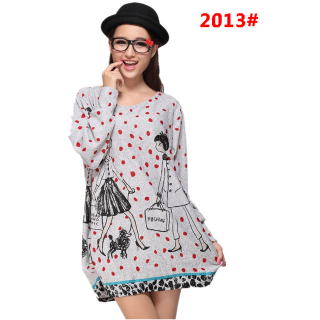 L-5XL 2018 winter autumn women casual print long sleeve dress plus size loose fashion dresses tunic big large cotton