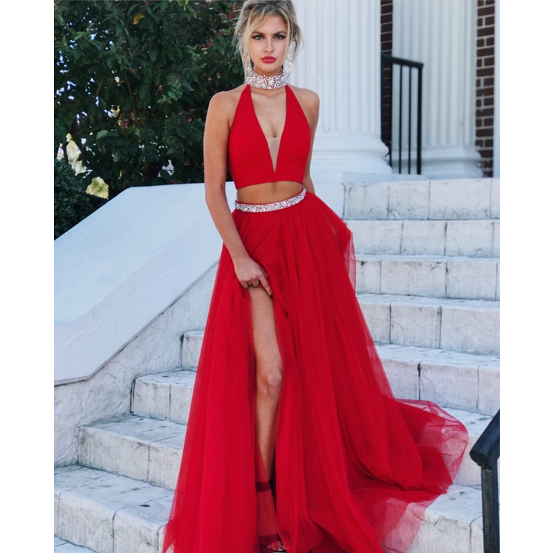 Halter Two Piece Deep V Long Prom Dresses High Slit Beading Waist Red Evening Formal Gown Dress 2019 Vestido De Fiesta in Prom Dresses from Weddings Events