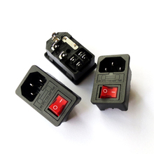 10PCS  Red Light Power Rocker Switch Fused IEC 320 C14 Inlet Power Socket Fuse Switch Connector Plug 10A 250V B2 стоимость