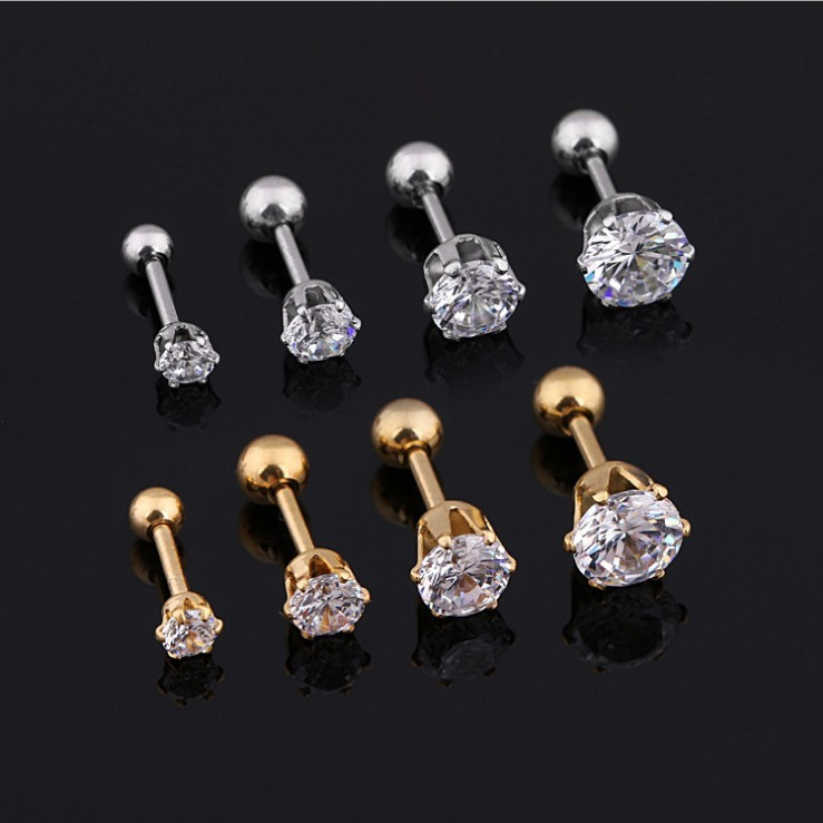 Newest Stainless Steel stud earring claws titanium steel metal thread round clear crystal zircon boys girls small ear studs men
