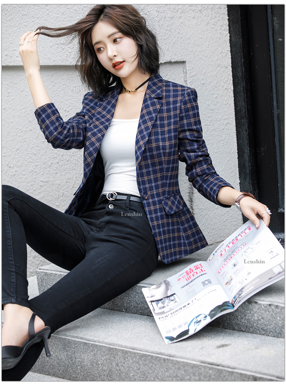 Lenshin Soft and Comfortable High-quality Plaid Jacket with Pocket Office Lady Casual Style Blazer Women Wear Single Button Coat 9