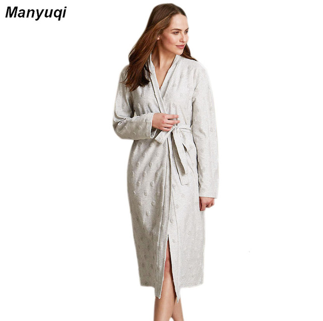womens solid color bathrobes Simple style long robes for women plus size spot comfortable homewear robe