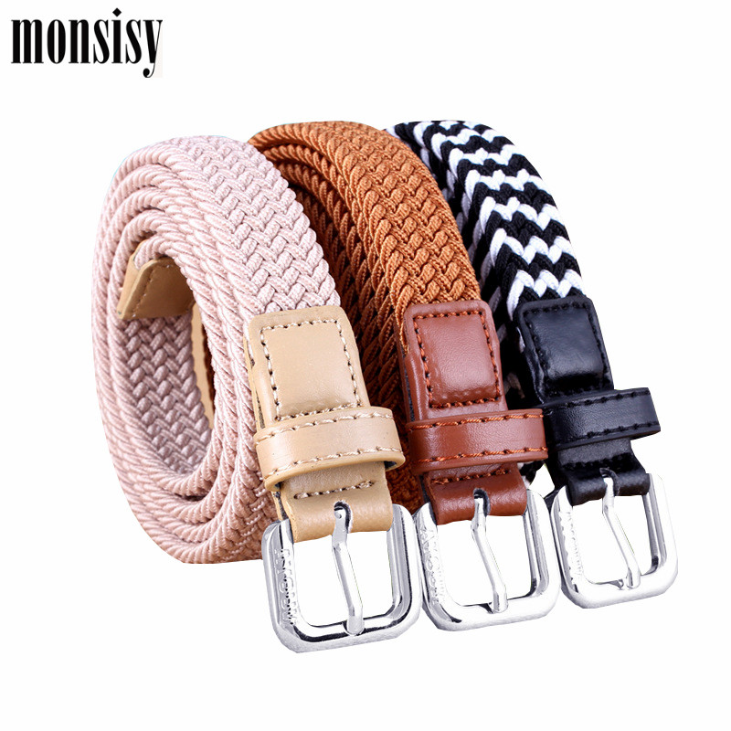 Monsisy Children Stretch Woven Belt Kid Elastic Belts Waistband 2020 Casual Solid 80cm Jeans Belts For Girl Boy Knitted Belt