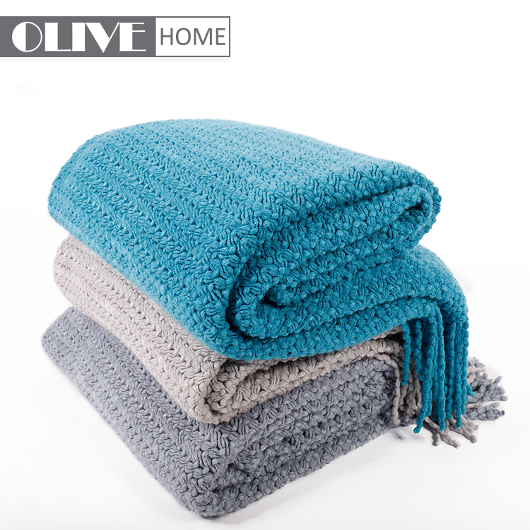 Battilo Wheat Knit Tassel Throw Blanket For Couch Sofa Bed Home Dcor Soft Warm Lightweight Blanket 51x 59