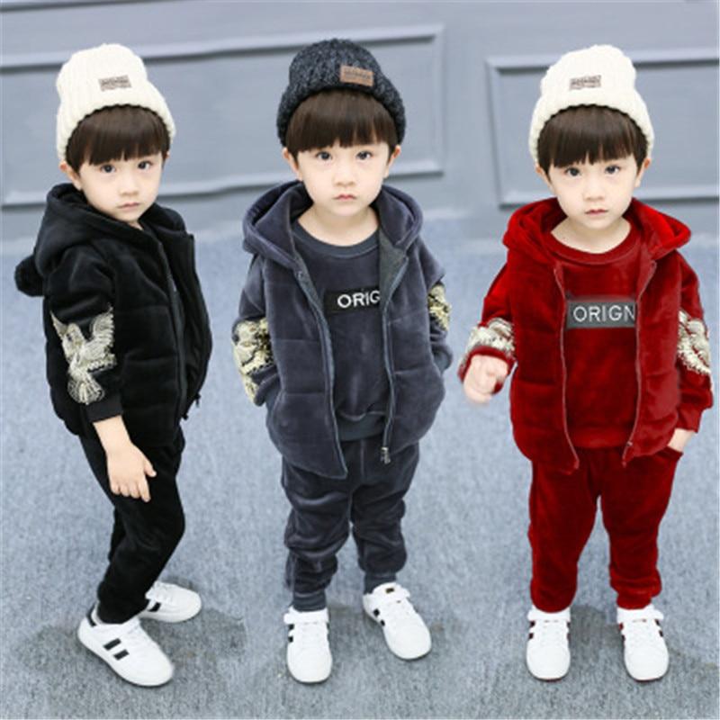 Baby Kids Winter Autumn Clothing Set Children Gold Velvet Suit Boys  Girls Eagle Print Hooded Vest Coat + Tops + Pants 3Pcs