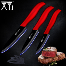 "XYj Kitchen Ceramic Cooking Knife Set 3"" Paring 4"" Utility 5"" Slicing Knife Black Blade+Red Handle Kitchen Knives Accessories"