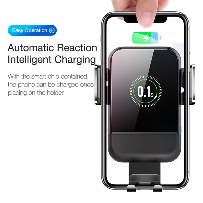 Fast Wirless Charger Car Phone Holder For iPhone 8P X XR Samsung S7 S8 Mount With Automatic induction Smart Mobile Phone Stand in Phone Holders Stands from Cellphones Telecommunications