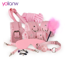 Sex Bondage Kit Set 10 Pcs Sexy Product Set Adult Games Toys Set Hand Cuffs Footcuff Whip Rope Blindfold Couples Erotic Toys