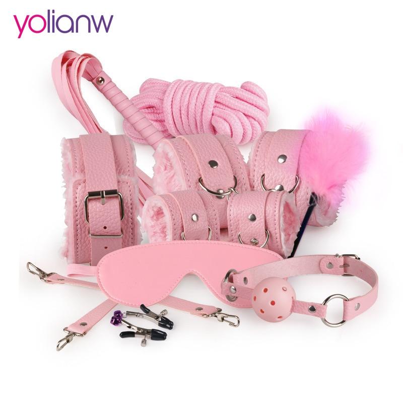 Sex Bondage Kit conjunto 10 piezas Sexy producto Set juguetes para adultos Set mano Footcuff Whip cuerda Blindfold parejas juguetes eróticos