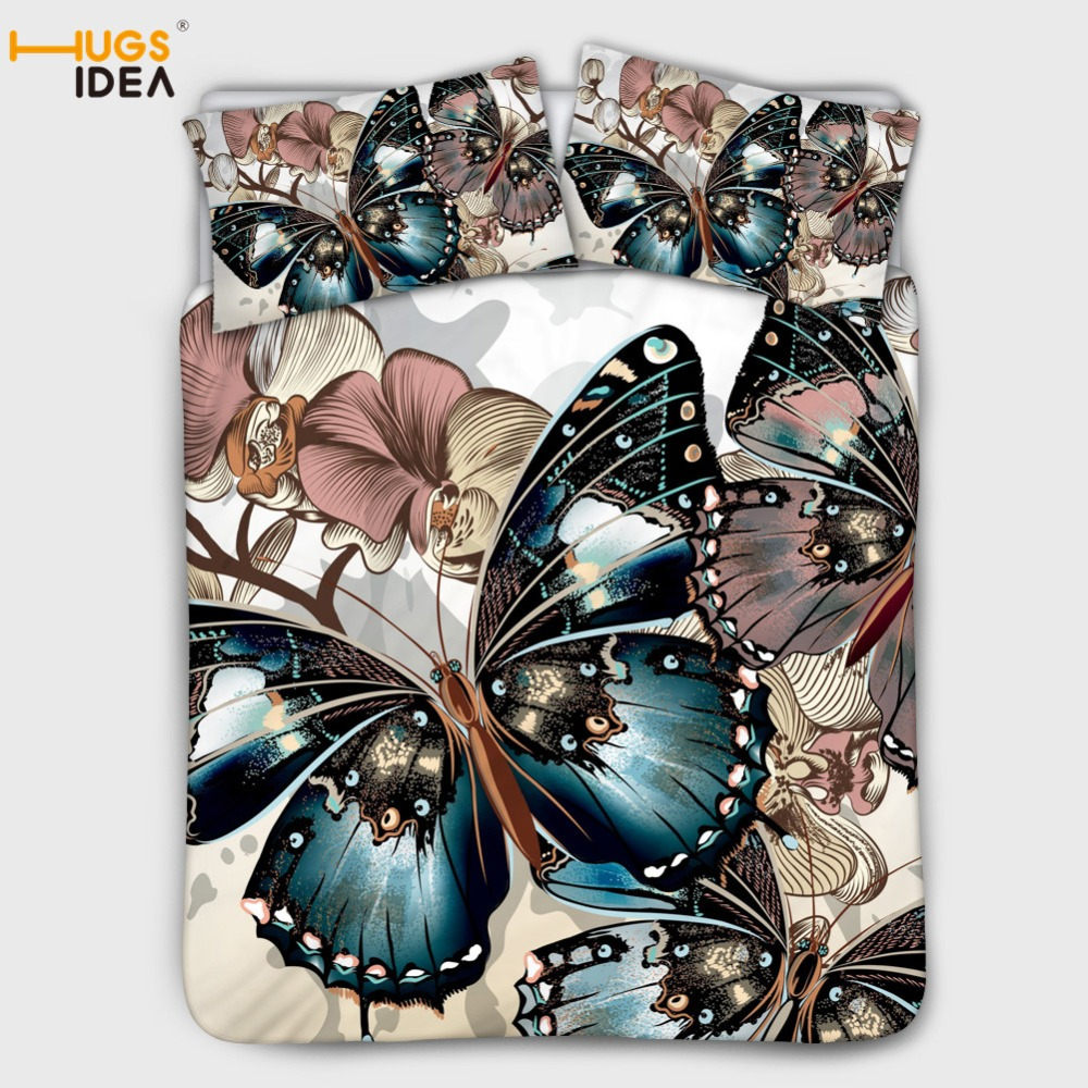 HUGSIDEA 3pcs Butterfly Bedding Set King size Bohemian Print Duvet Cover Set with Pillowcase Queen Bed best gift bed line