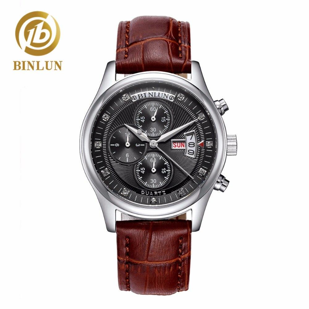 все цены на BINLUN Genuine Leather Men's Quartz Watch Black Multi-function Dial Military Watch Waterproof Quartz Watch Men's Sport Watches онлайн