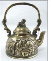 decoration BRASS factory Pure Brass Antique Exquisite Chinese collectable brass ancient human chess teapot
