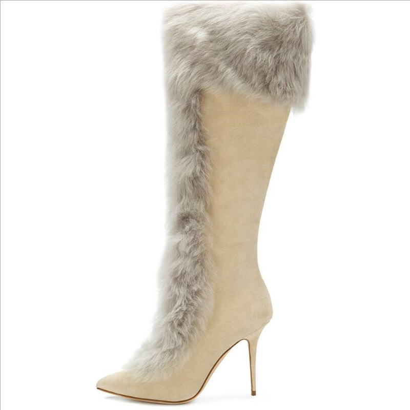 women rabbit fur khaki suede boots women winter warm Boots antiskid outsole lady pointed toe stiletto knee high boots size 34 46 in Knee High Boots from Shoes