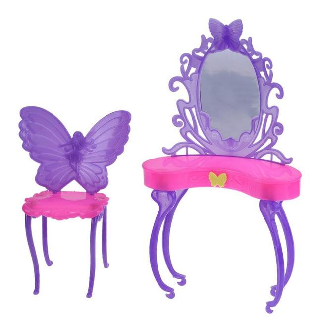 Butterfly Dressing Makeup Table Furniture For Barbie Doll Kids Girls DIY  Makeup Toy Pretend Play House