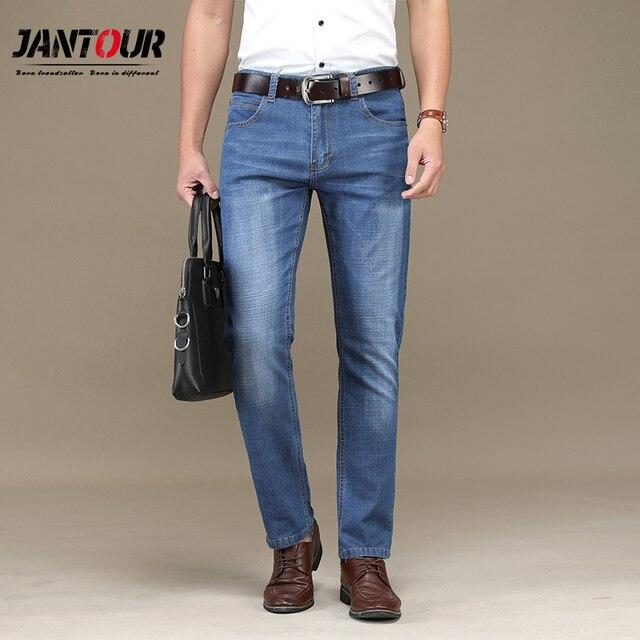05eace60a1a summer New Men Jeans Business Casual Thin Slim Fit Blue black Jeans Stretch  work Denim Pants Trousers Classic Cowboys cotton Man
