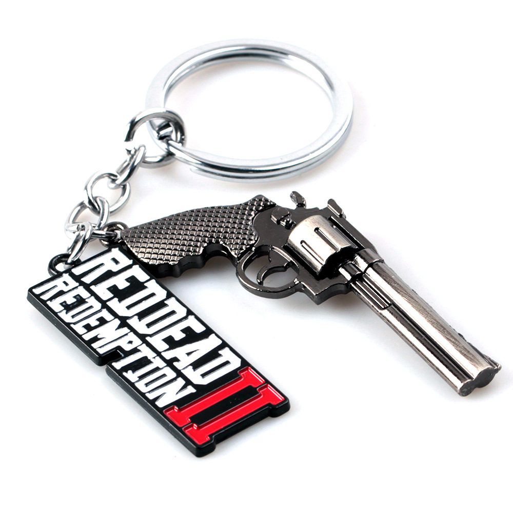 3D Alloy Pendants Red Dead Redemption 2 Metal Gun Model Keychain Pendants Men Car Women Bag Key Chain Chaveiro