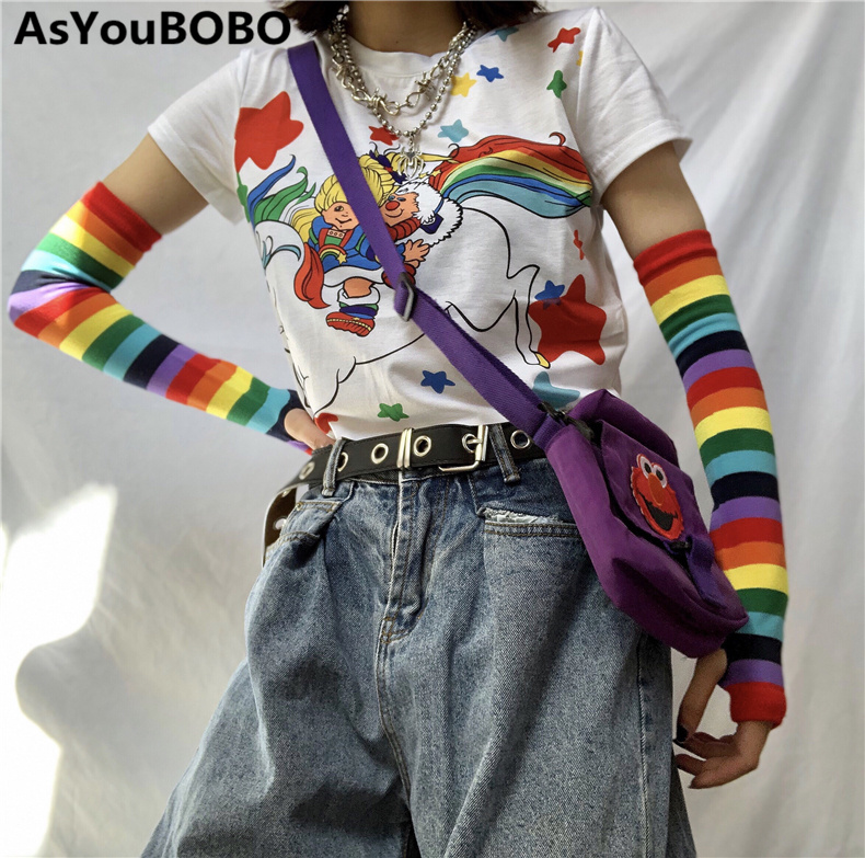 Harajuku Vintage Ins Hot Style Rainbow Striped Long Sleeve Fingerless Sunscreen Gloves Thin Tight  Arm Warmers YQ-1009