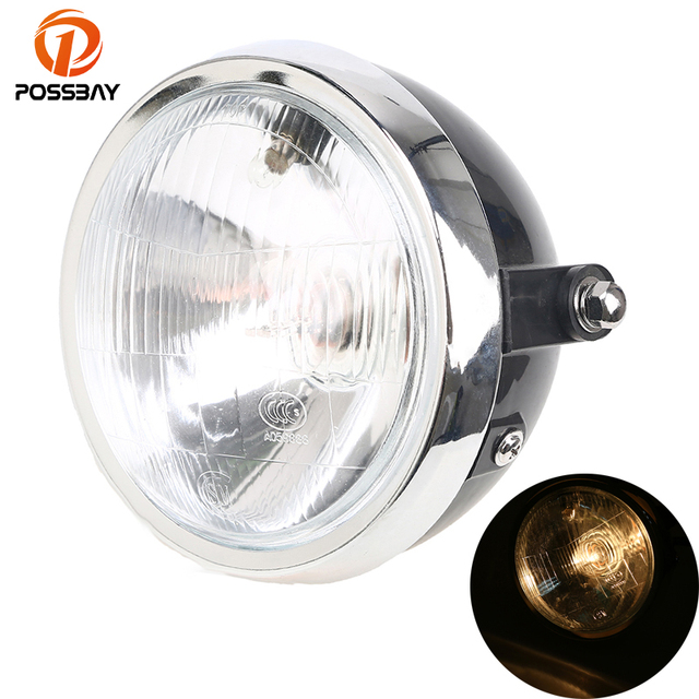 POSSBAY 6'' Universal Lights Motorcycle Headlamp Cafe Racer for Yamaha Harley Suzuki Honda CG125 Round Halogen Retro Headlight