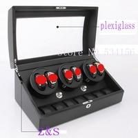 6 7 Black White Wood Watch Winder With High Gloss Piano Paint Watch Box Automatic Watch