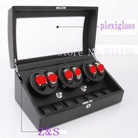 6+7wood watch winder with high gloss piano paint watch box automatic gift box watch case storage display jewelry box
