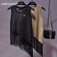 Cakucool New Bling Tank Tops For Women Summer Sequin Knit Camisole Tassels Asymmetric Sexy Club Party Top Tank Camisa Feminino