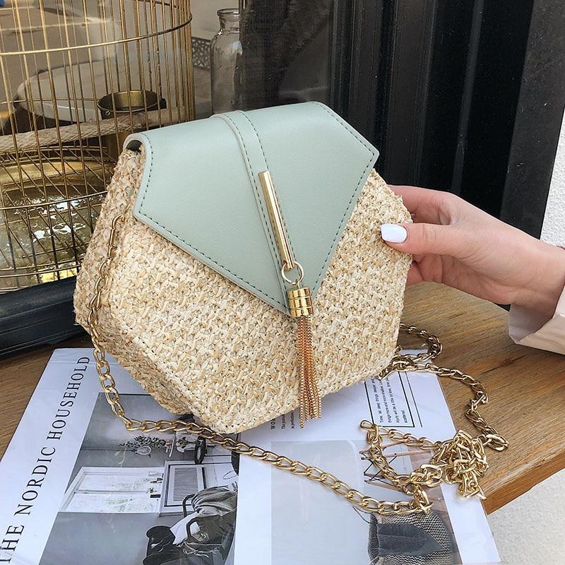 Hexagon Straw Bag For Women 2020 Summer Woven Beach Crossbody Bags Ladies Small Purses And Handbags Female Travel Messenger Bag