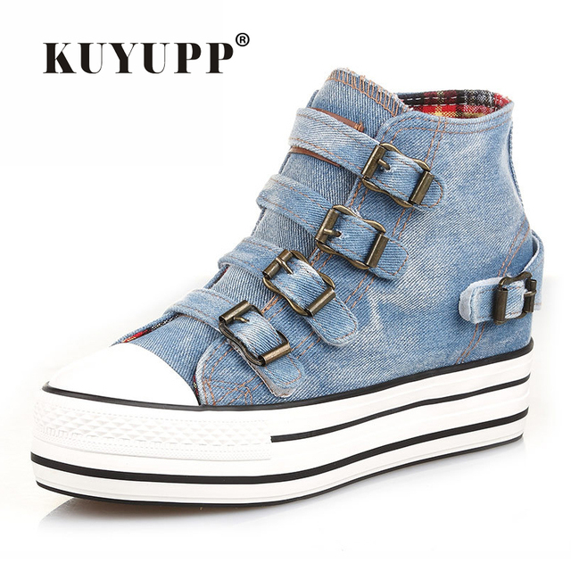 High Top Women Denim Shoes Espadrilles 2016 Fashion Autumn Hide Wedges Canvas Womens Shoes Lace Up Casual Shoes Sapatilha YD135