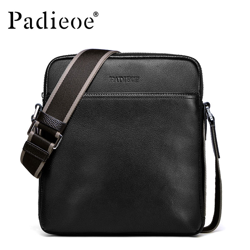 Padieoe 2017 Fashion Men Shoulder Bags Cowhide Brand Messenger Bag Men's Business Casual Travel Genuine Leather Crossbody Bag casual canvas women men satchel shoulder bags high quality crossbody messenger bags men military travel bag business leisure bag