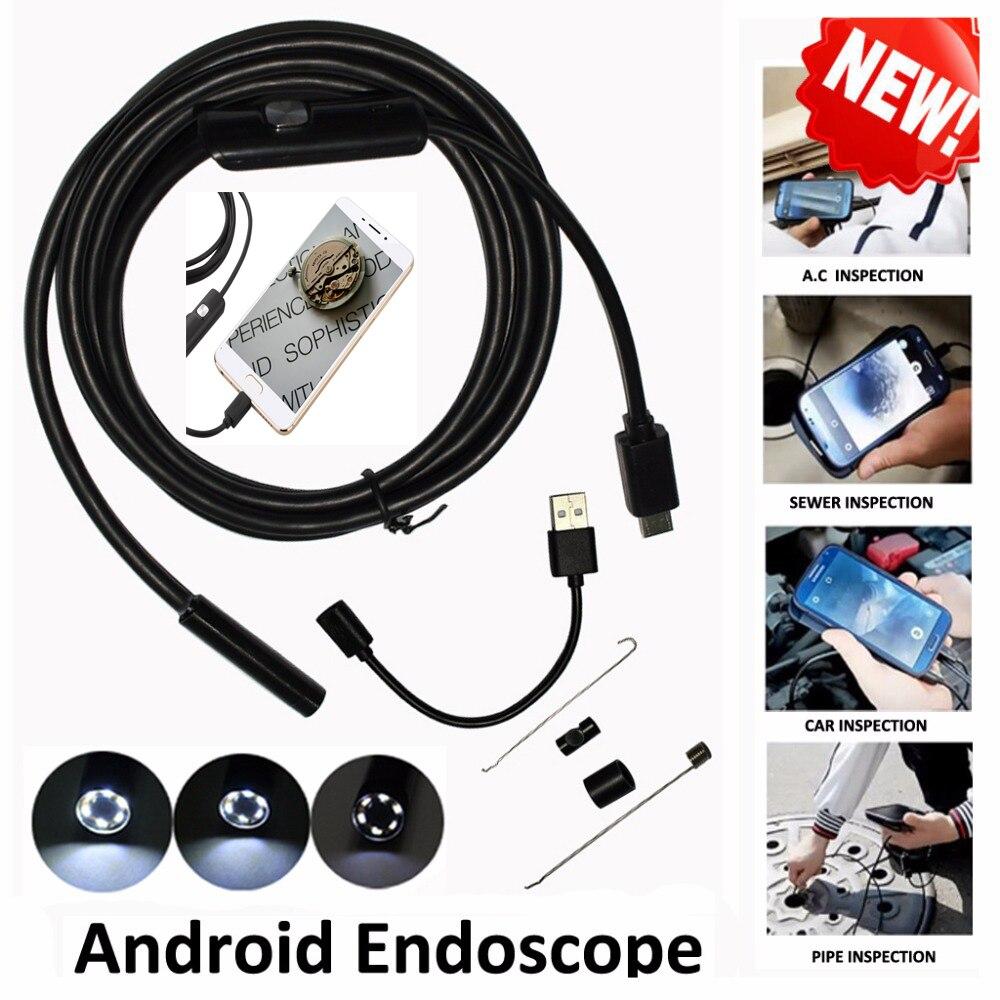 JCWHCAM 7mm 1/1.5/2/3.5/5/7/10M Android USB Endoscope Camera Snake Pipe Inspection Andorid OTG Borescope Mini Camera Car Repair