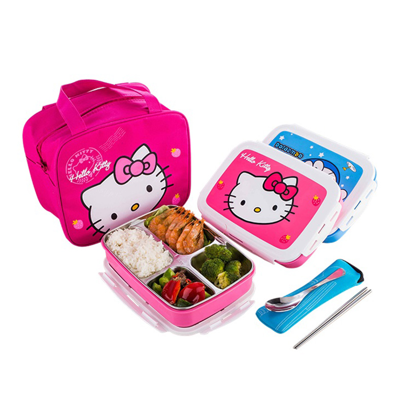 School Kids Cute Cartoon Bento Boxes Microwave Stainless Steel Lunchbox Outdoor Portable Food Container Japanese Style